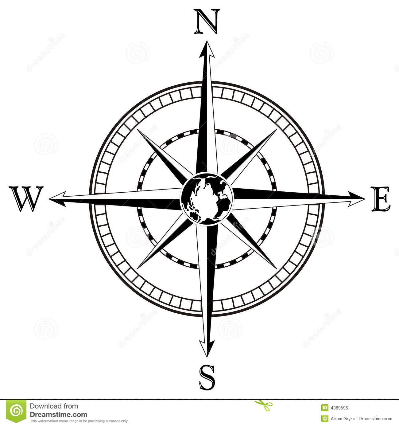 Compass rose illustration Compass Rose Clipart Black And White