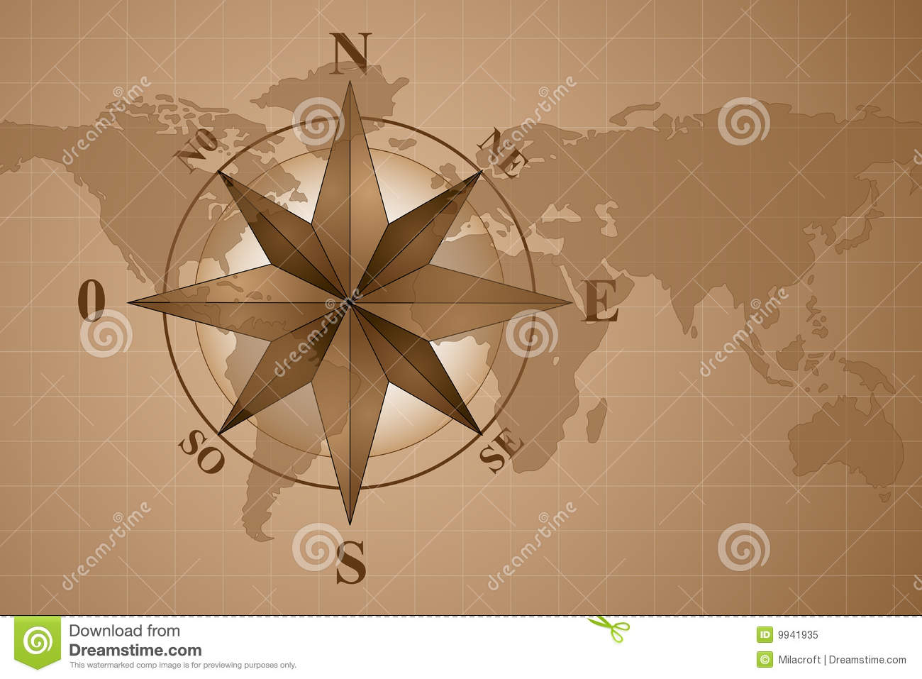 Compass Rose On Map World Stock Vector Illustration Of Brown 9941935