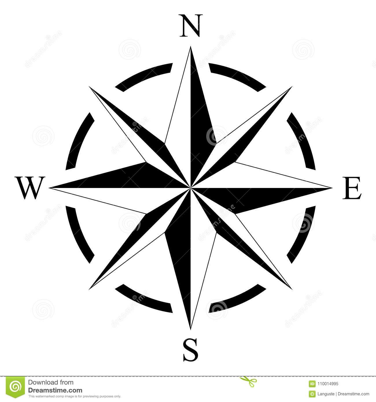Picture of: Compass Rose For Marine Or Nautical Navigation And Maps On A Isolated White Background As Vector Stock Vector Illustration Of Magnetic Nautical 110014995