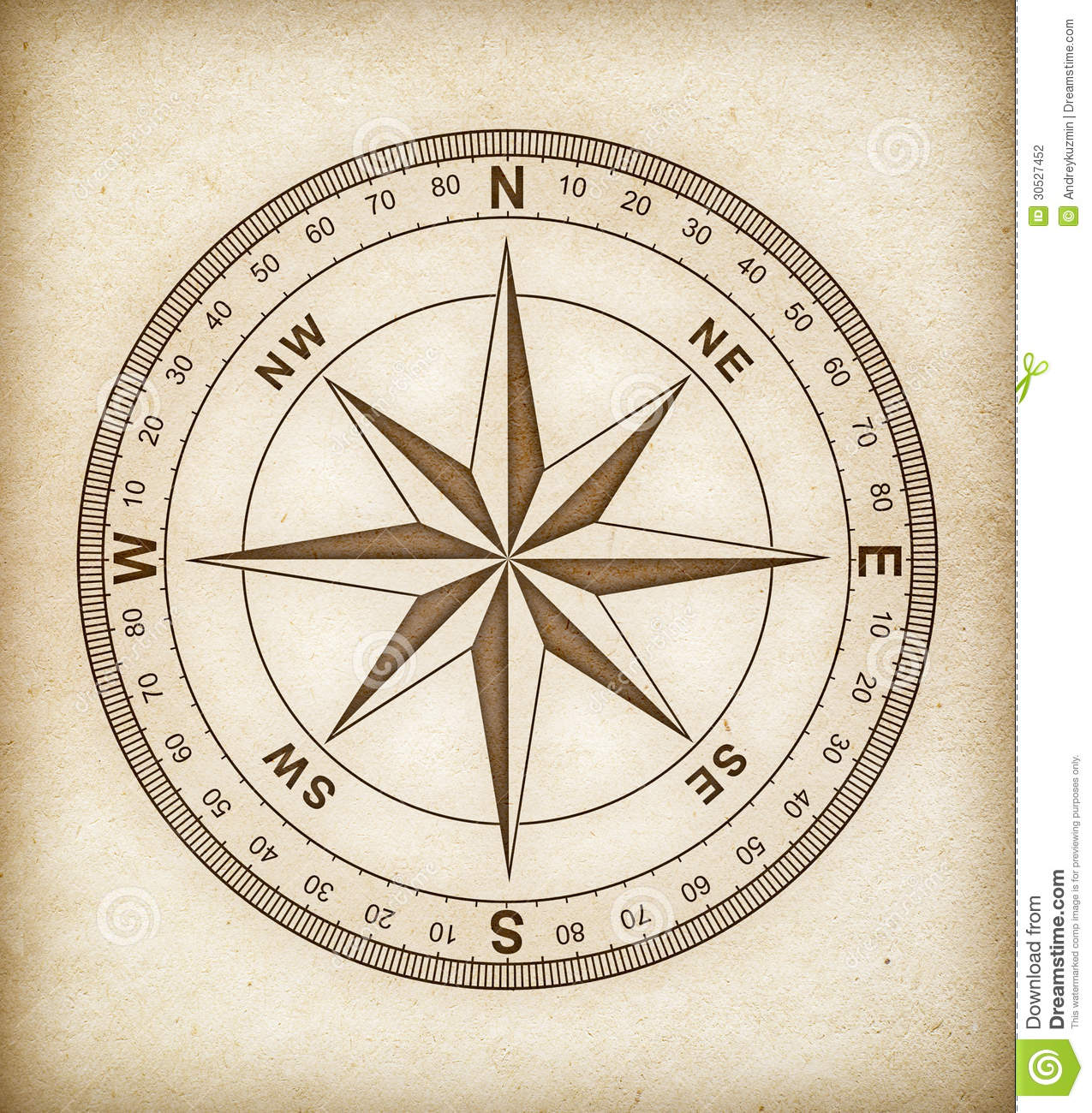 Compass Rose On Old Paper Stock Photography - Image: 30527452