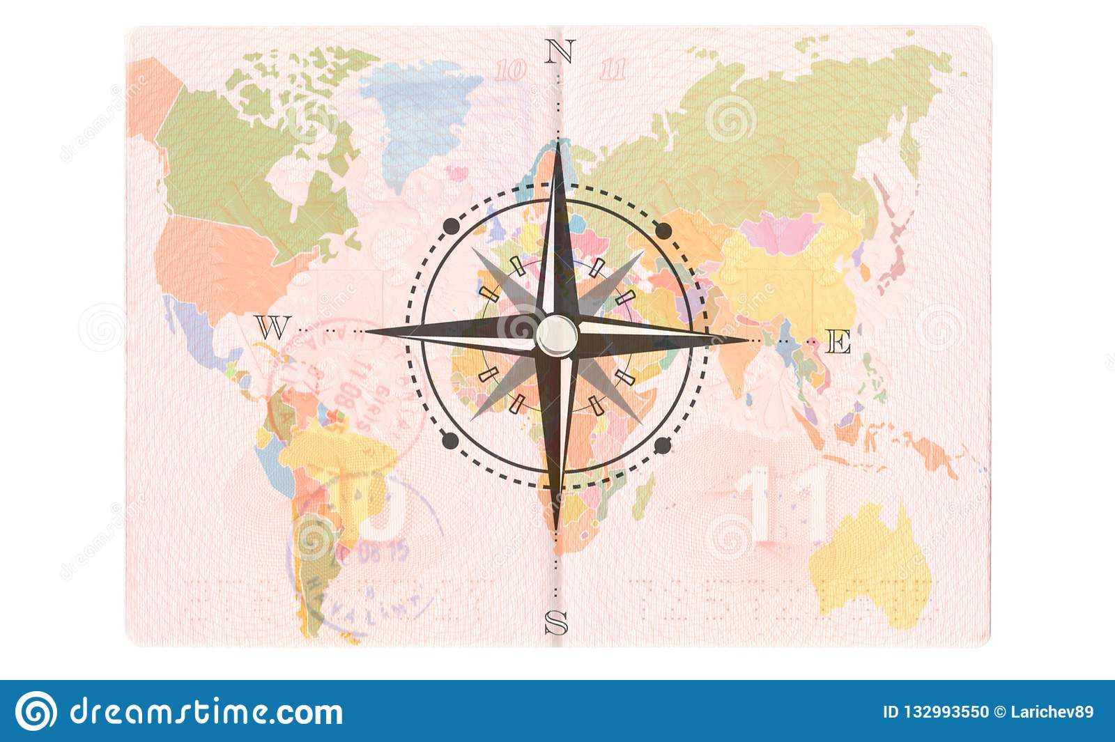 Compass Rose In The Passport World Map Travel Concept Stock Photo