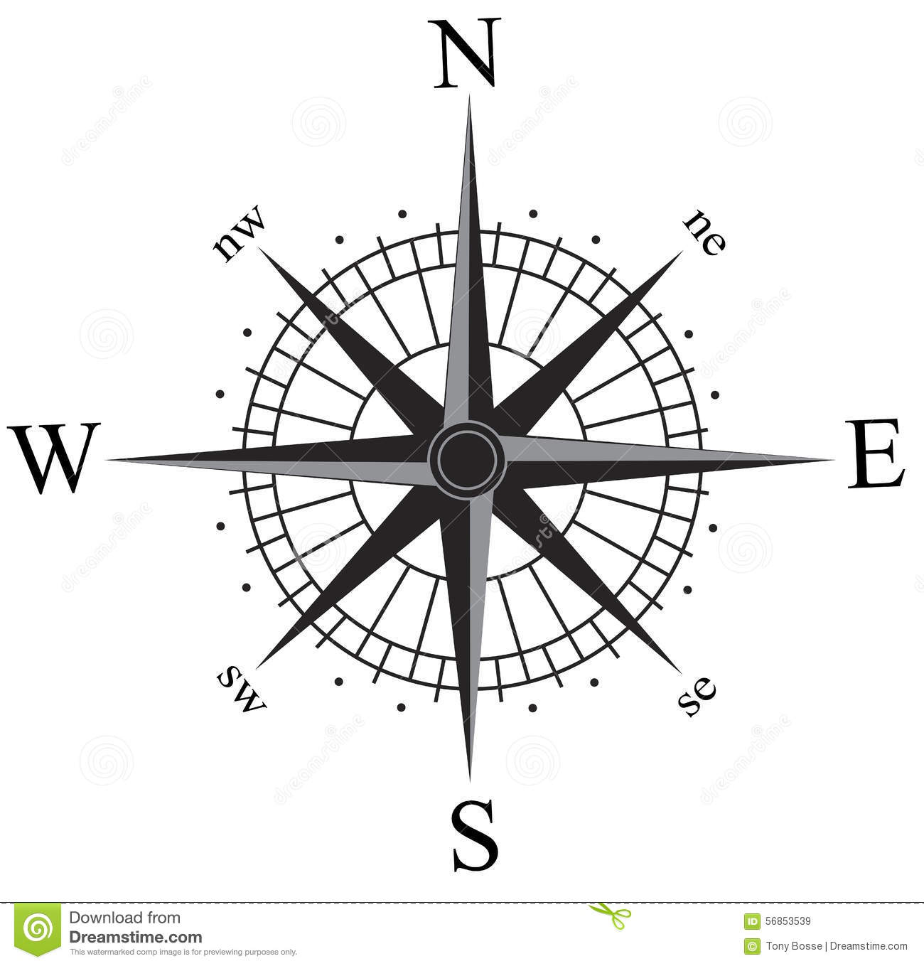 Black and silver compass rose vector, isolated on white. This is also ...