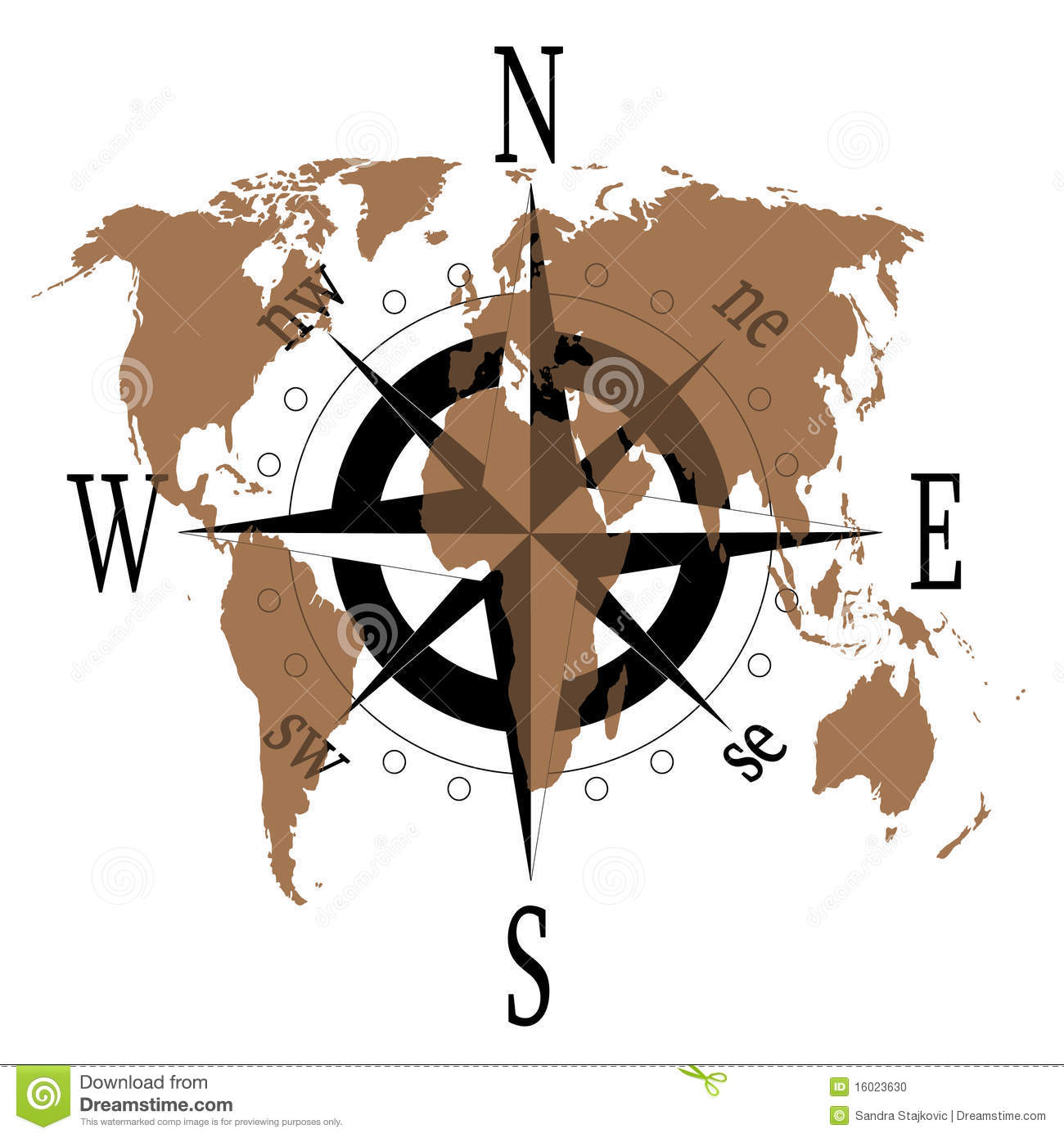 Compass Rose With World Map Stock Photo Image 16023630