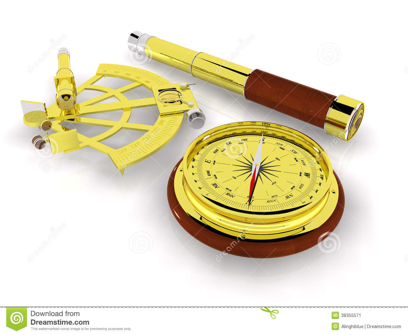 Sextant And Telescope Royalty Free Stock Image - Image: 35705266