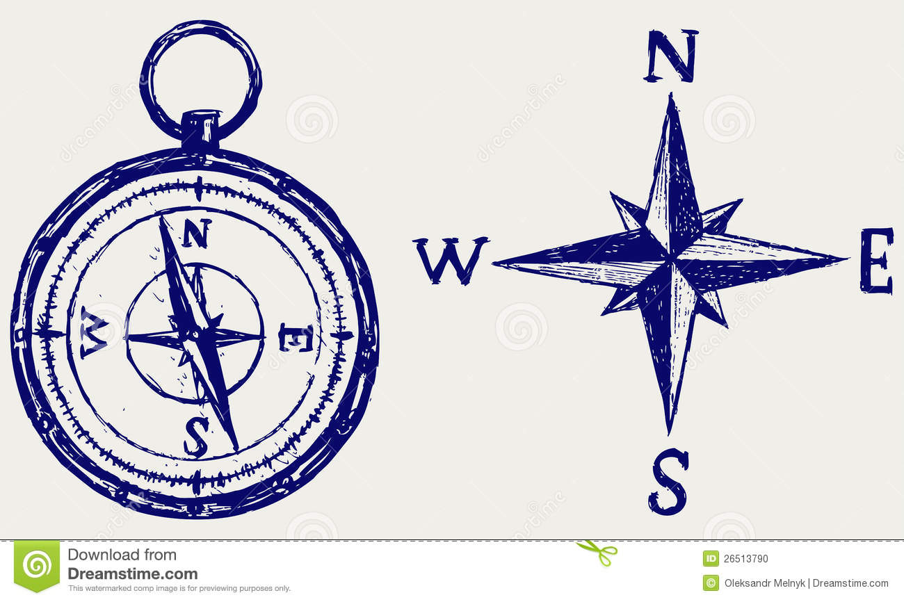 Compass Sketch Stock Photo - Image: 26513790