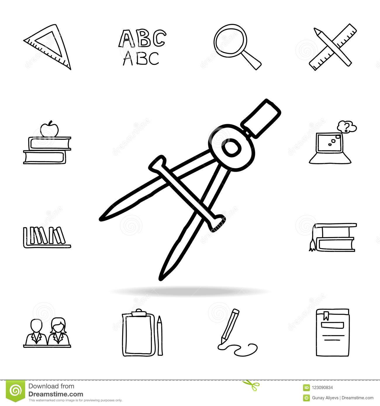 Compass Sketch Icon Element Of Education Icon For Mobile Concept