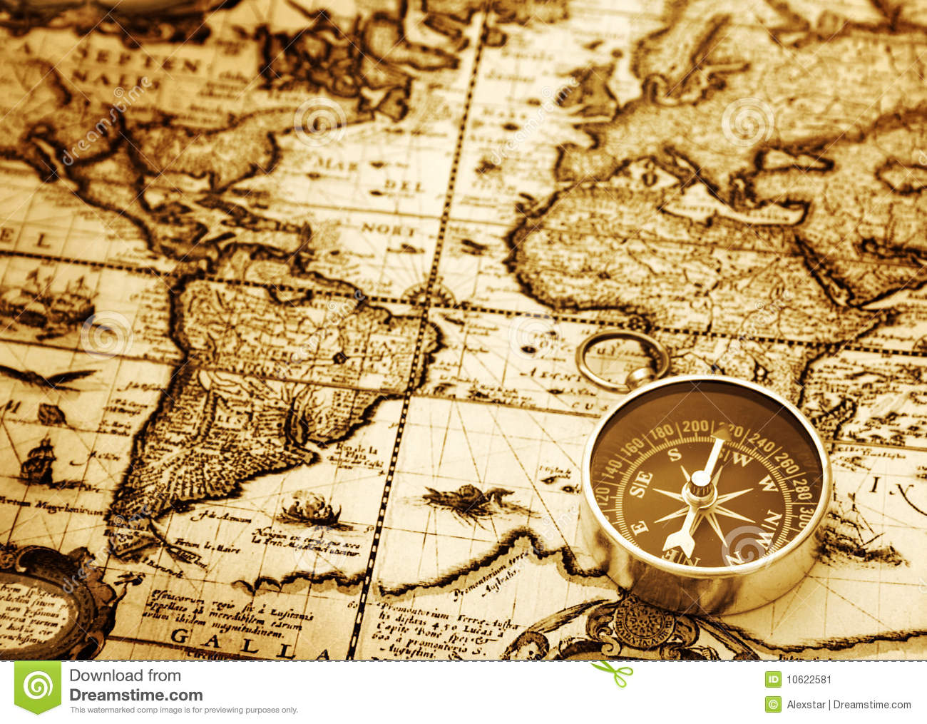 Compass on vintage map stock image image of discovery 10622581 compass on vintage map gumiabroncs Images