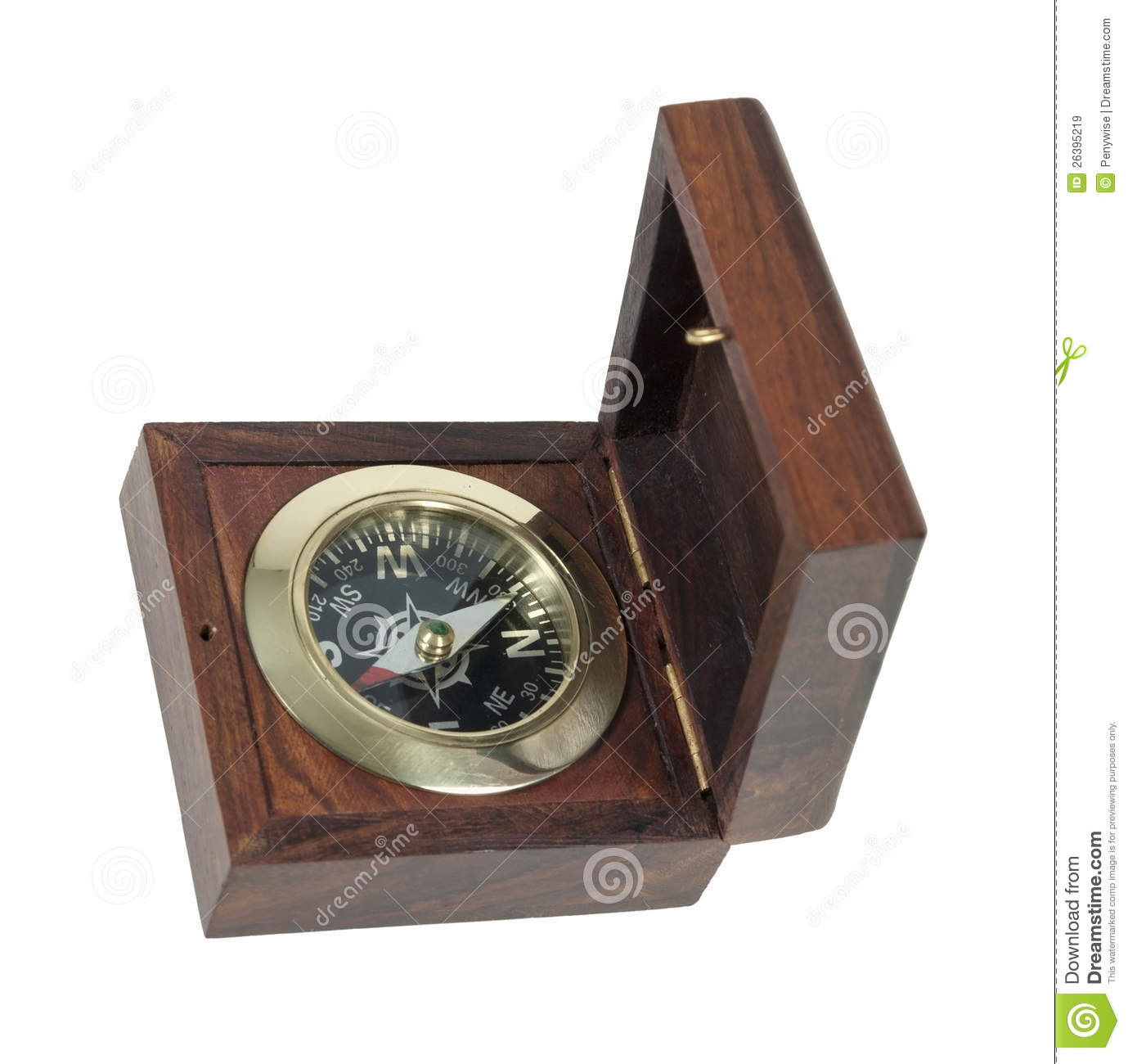 Compass in wooden box used for navigational purposes - path included.