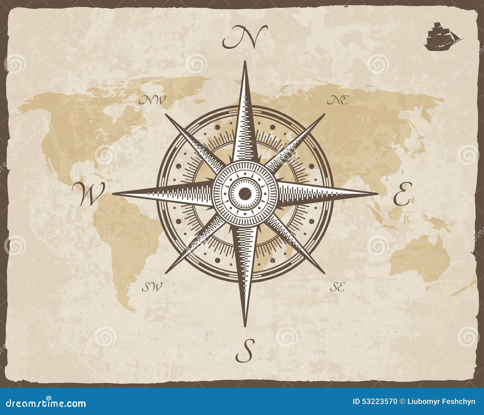 Compasso náutico do vintage Textura velha do papel do vetor do mapa com quadro rasgado da beira O vento levantou-se