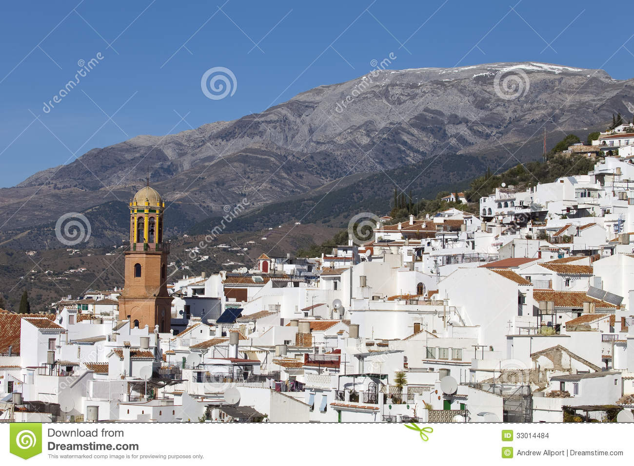 Competa Spain  city photos gallery : View across the rooftops of Competa white village in Andalusia, Spain ...