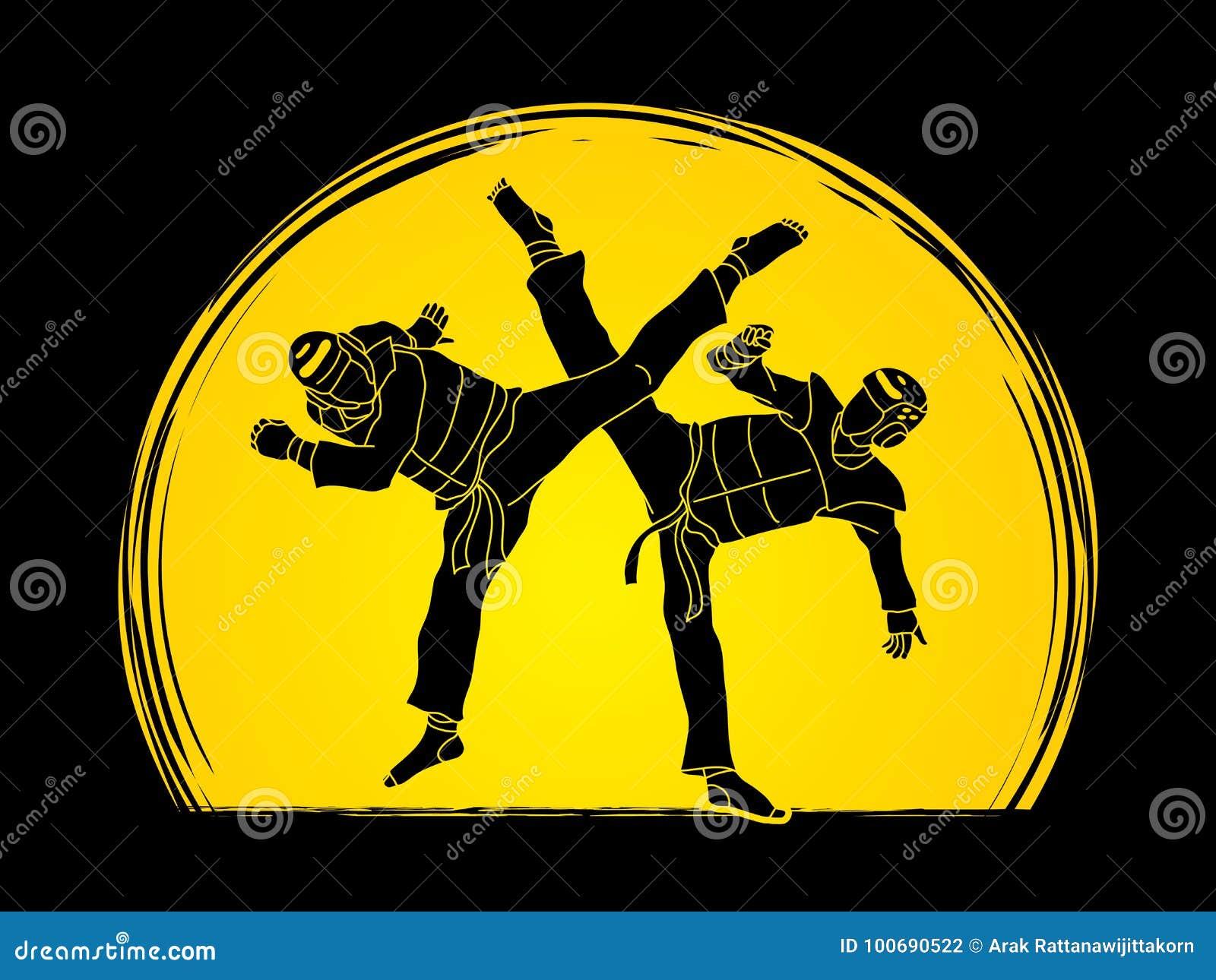 Competencia que lucha del Taekwondo