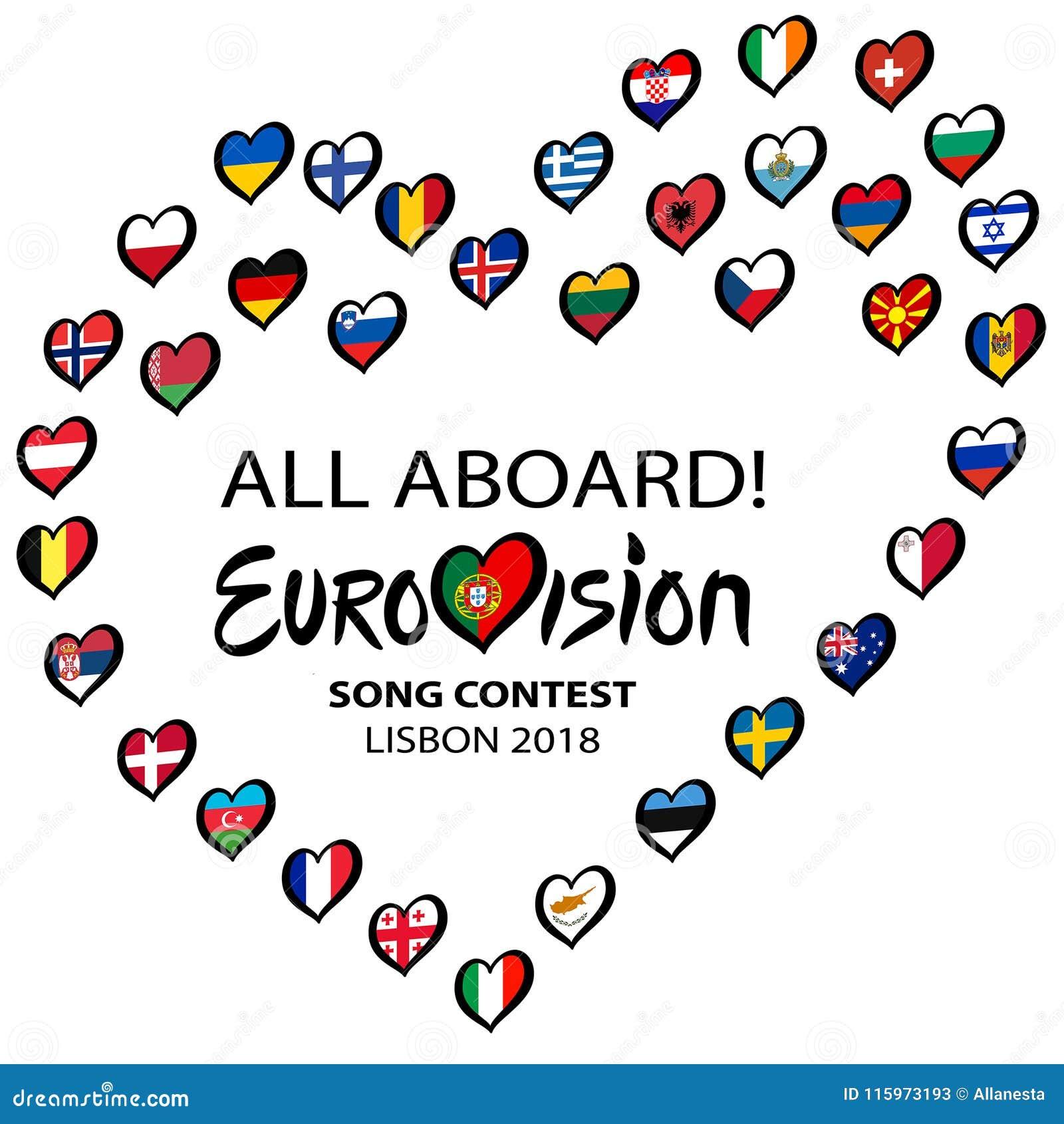 Competição de música de Eurovision 2018 todos a bordo em Lisboa Coração da música com rotulação , Portugal em um fundo branco Ill