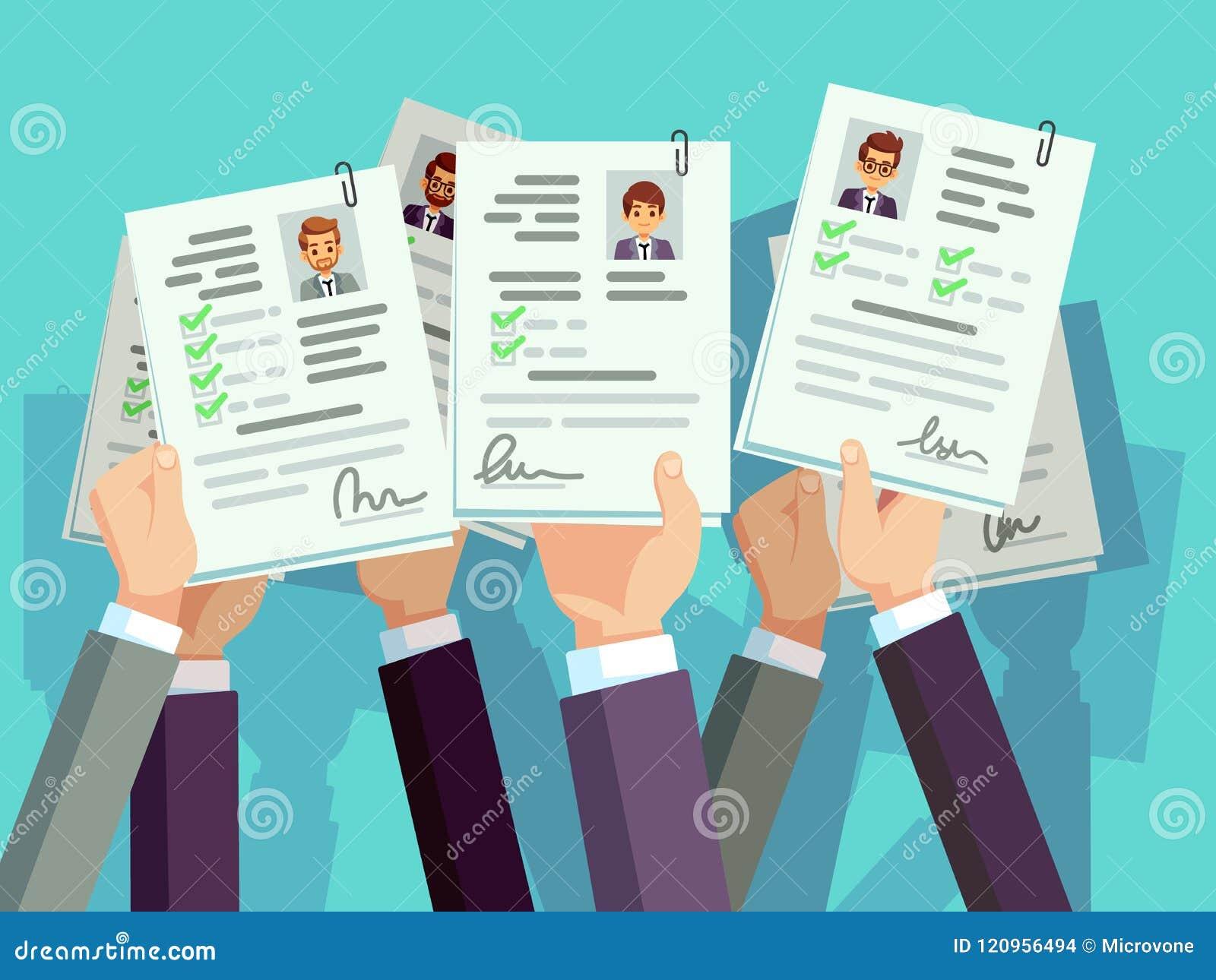 Competição do trabalho Resumo do cv da posse dos candidatos Conceito do recrutamento e do vetor dos recursos humanos