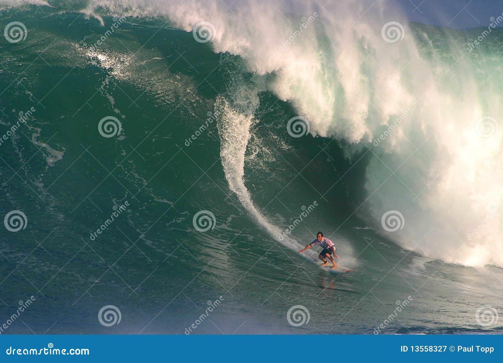 Competição surfando da onda grande de Eddie Aikau