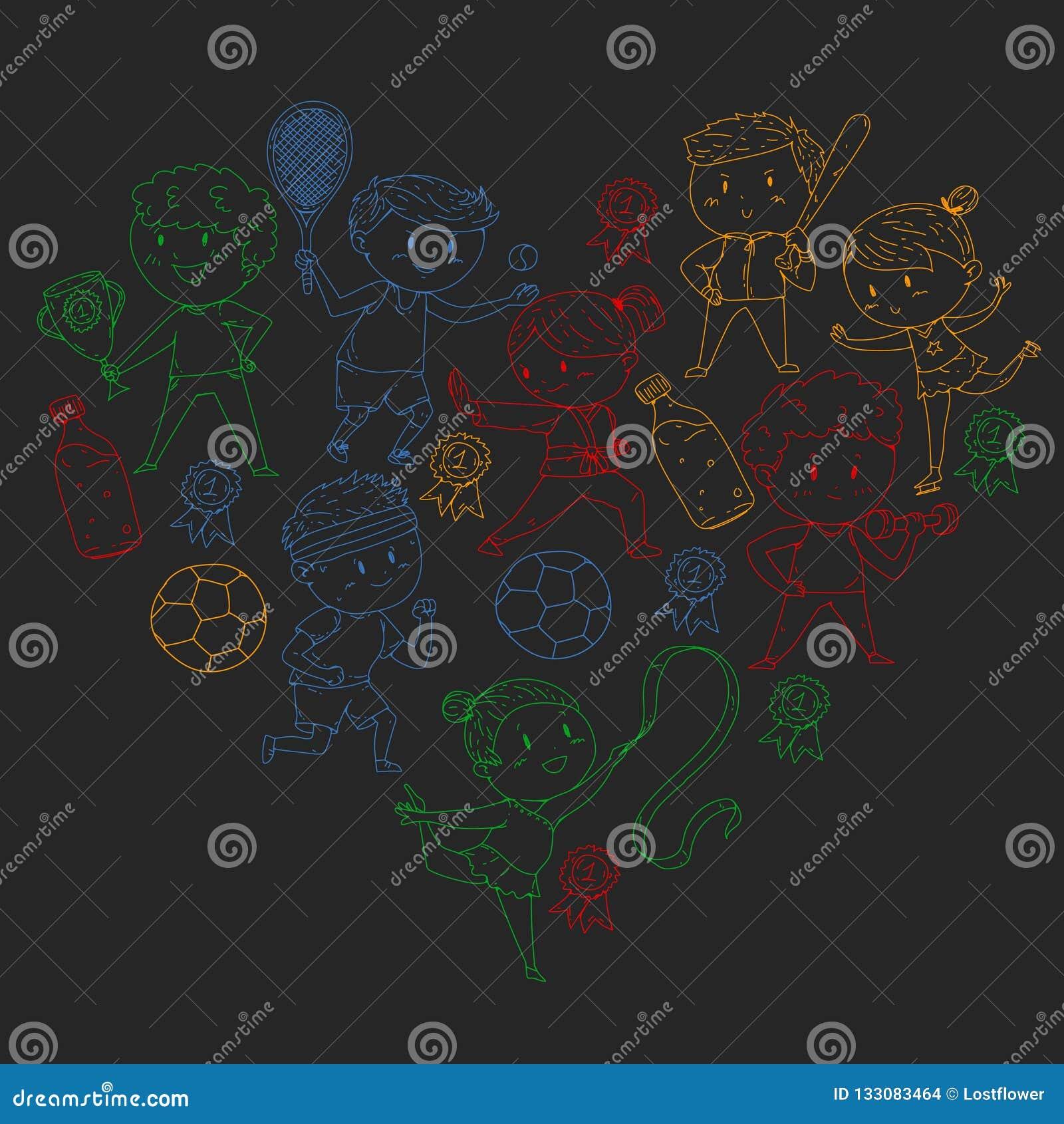 Competições de esporte das crianças Atheles novos que jogam o futebol, futebol, basebol, basquetebol Funcionamento dos meninos e