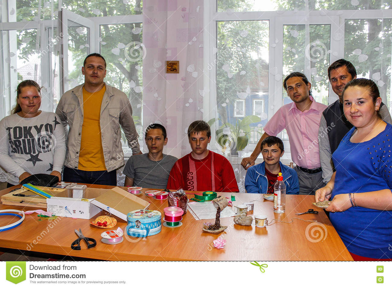 Competition for children on making homemade crafts in the education centre in the Gomel region of Belarus.