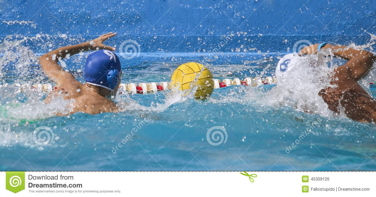 Competition and duel water polo players match