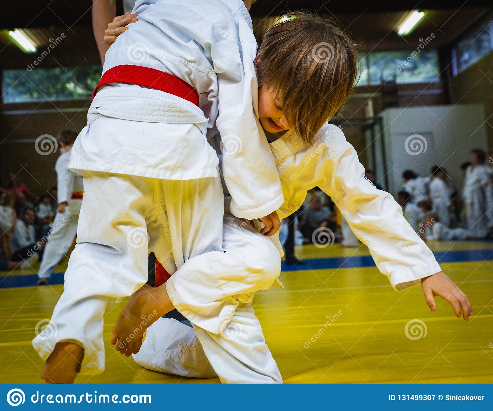 Competition At Judo School, Two Little Wrestling Boys In The