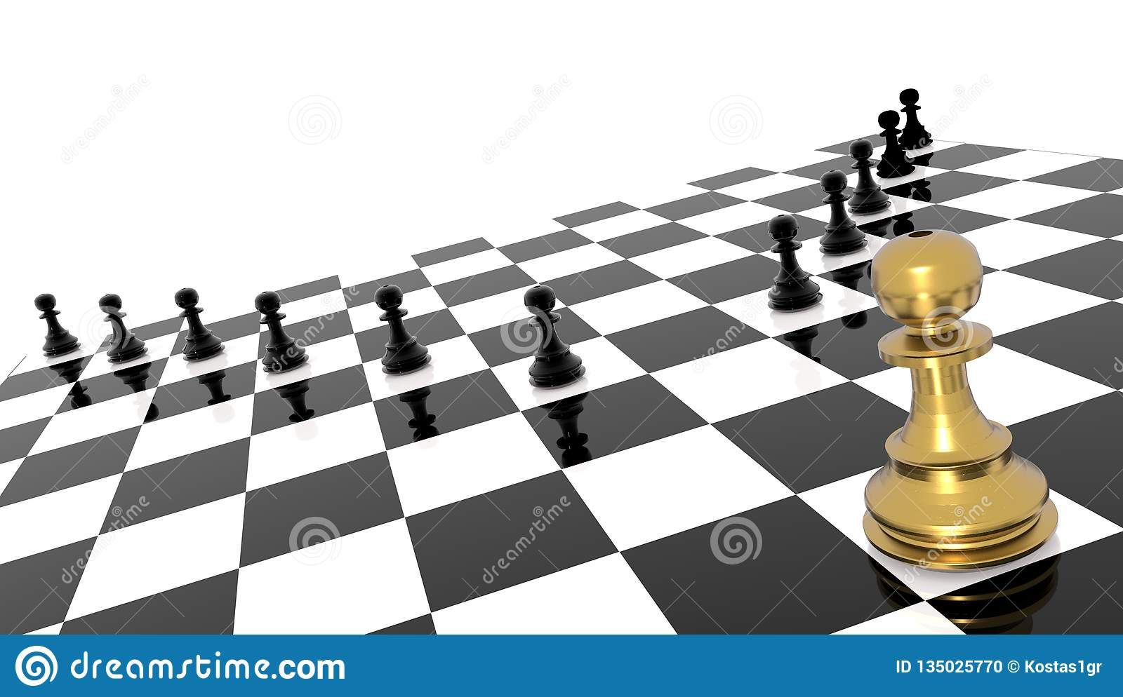 Competitive andvantage golden chess pawn outstanding leader - 3d rendering