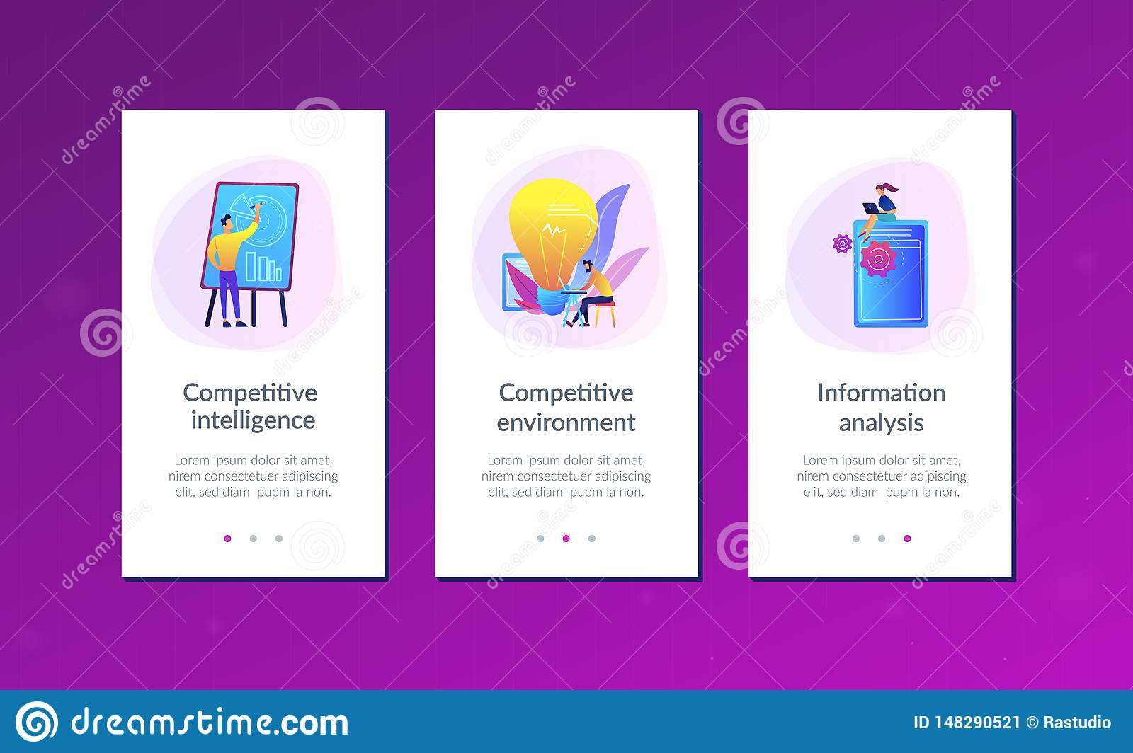 Competitive intelligence app interface template.