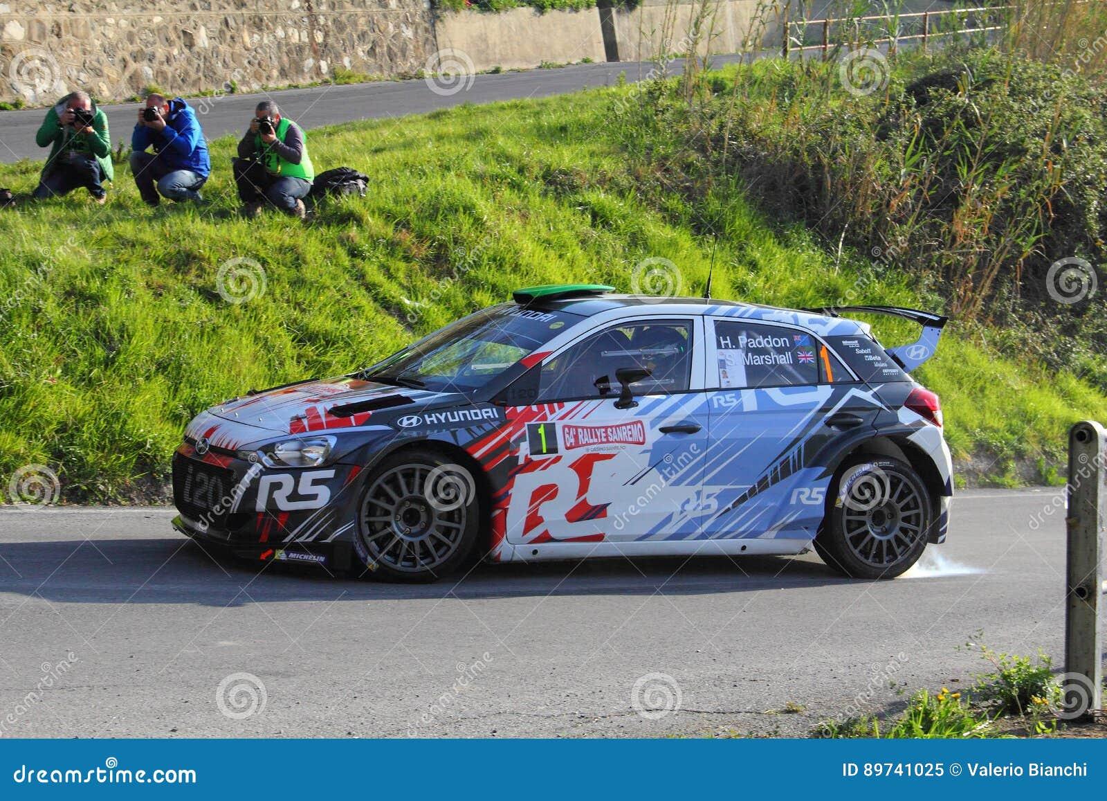 Competitivo de Hyundai i20 dedicado durante la 64.a reunión de Sanremo