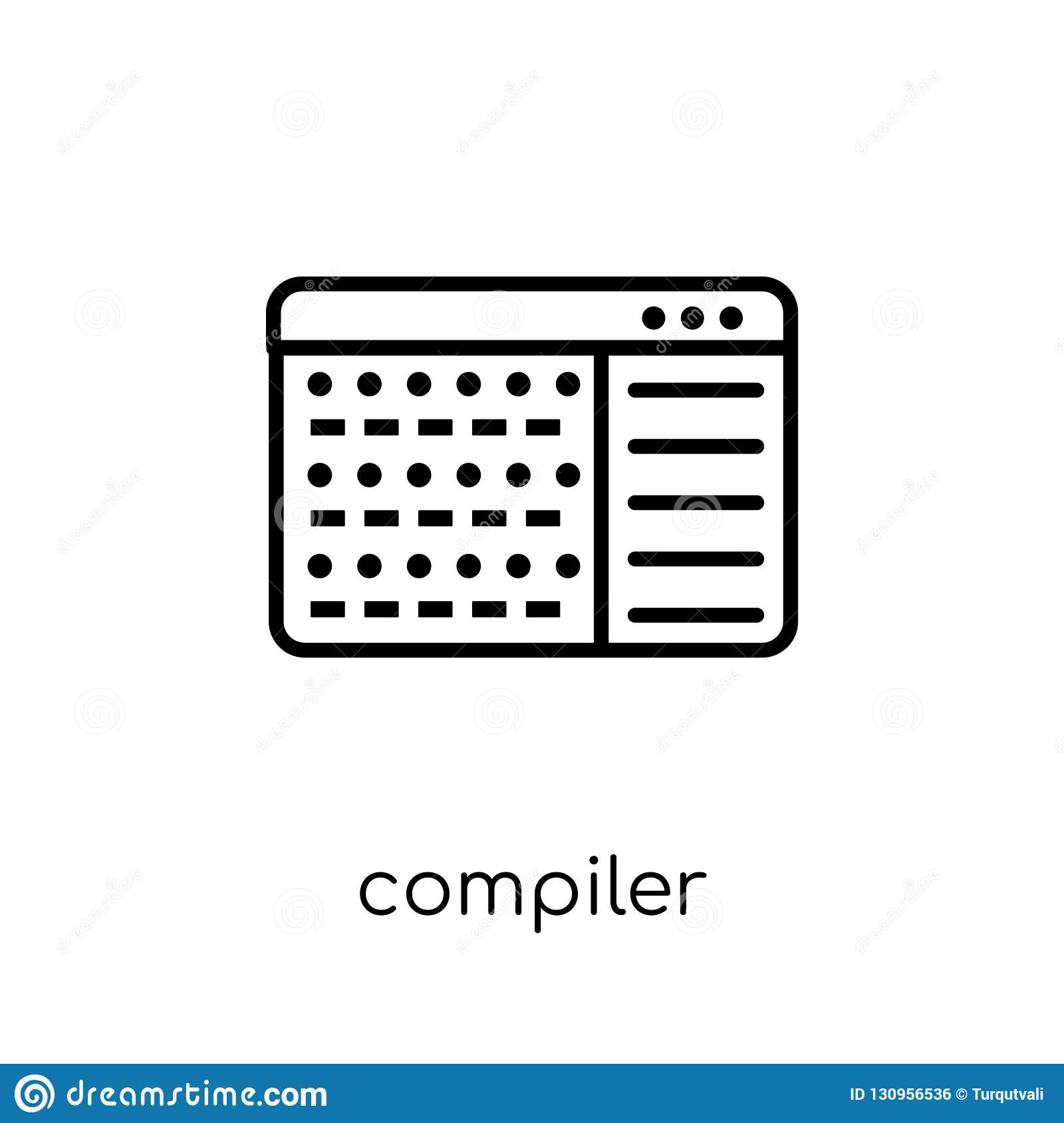 Compiler Icon  Trendy Modern Flat Linear Vector Compiler