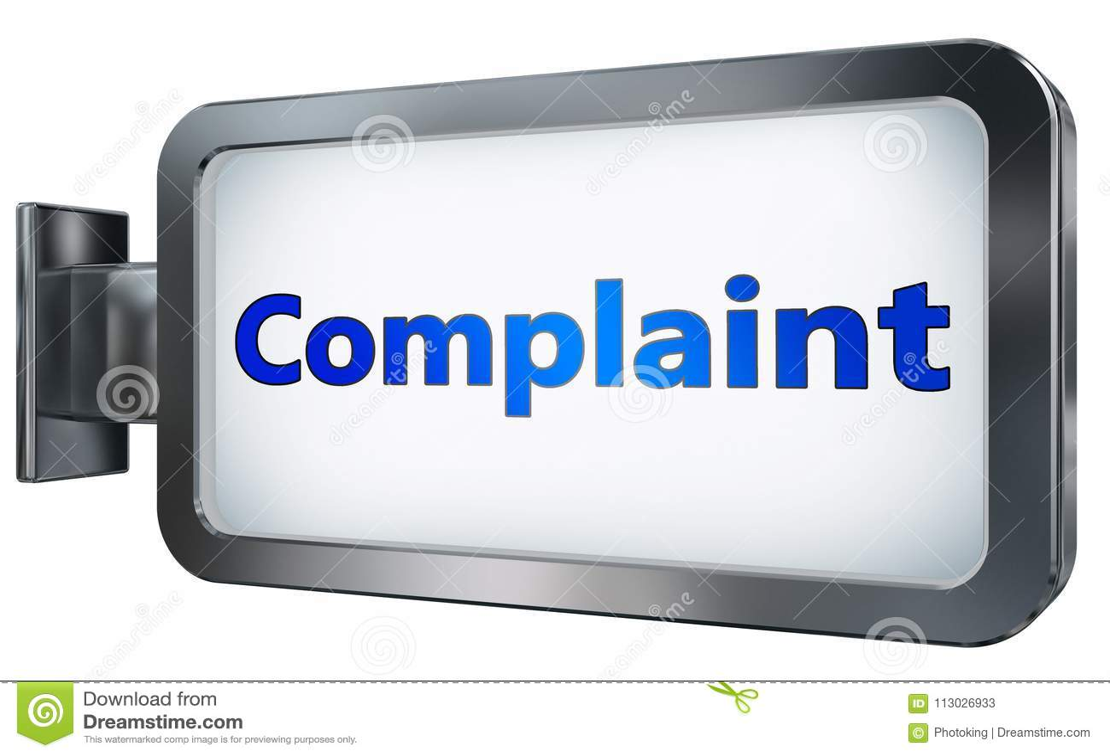Complaint on billboard background