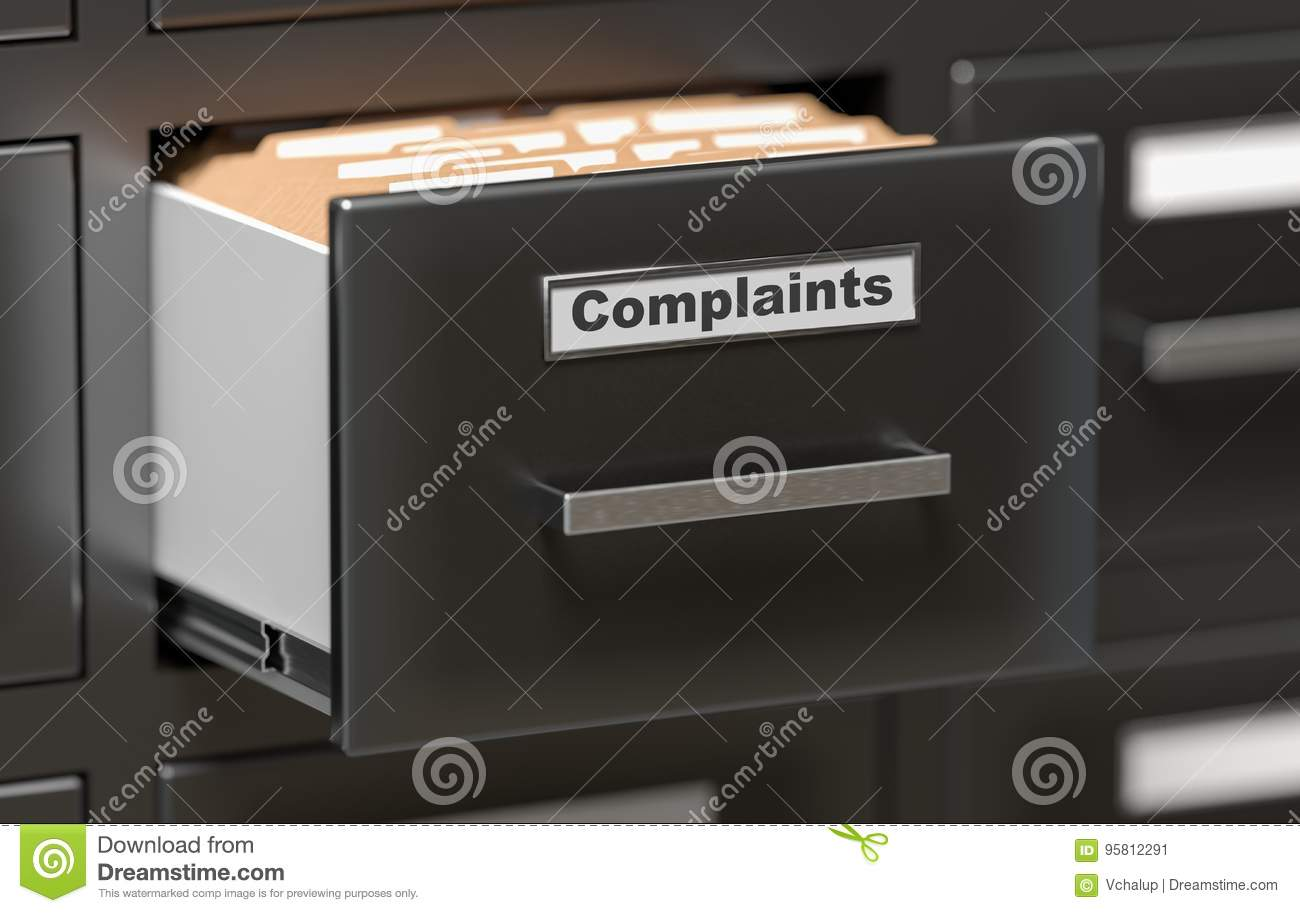 Complaints files and documents in cabinet in office. 3D rendered illustration