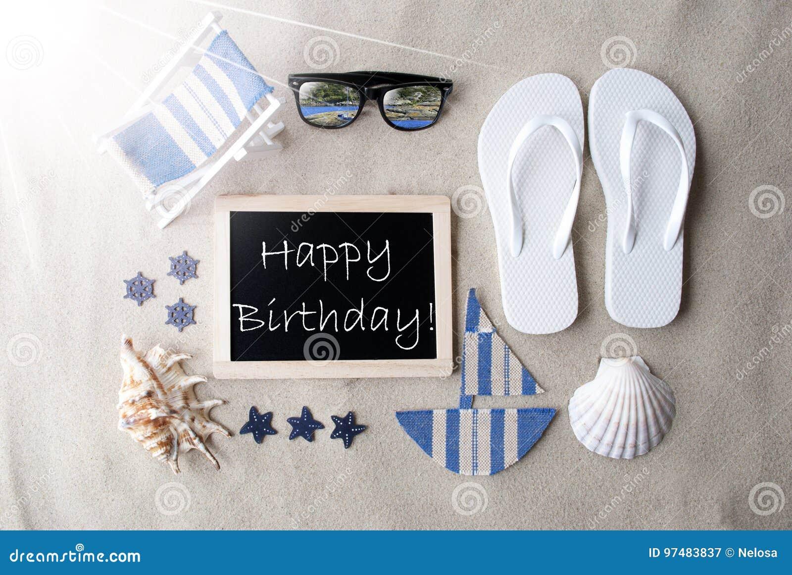 Compleanno del testo di Sunny Blackboard On Sand With buon