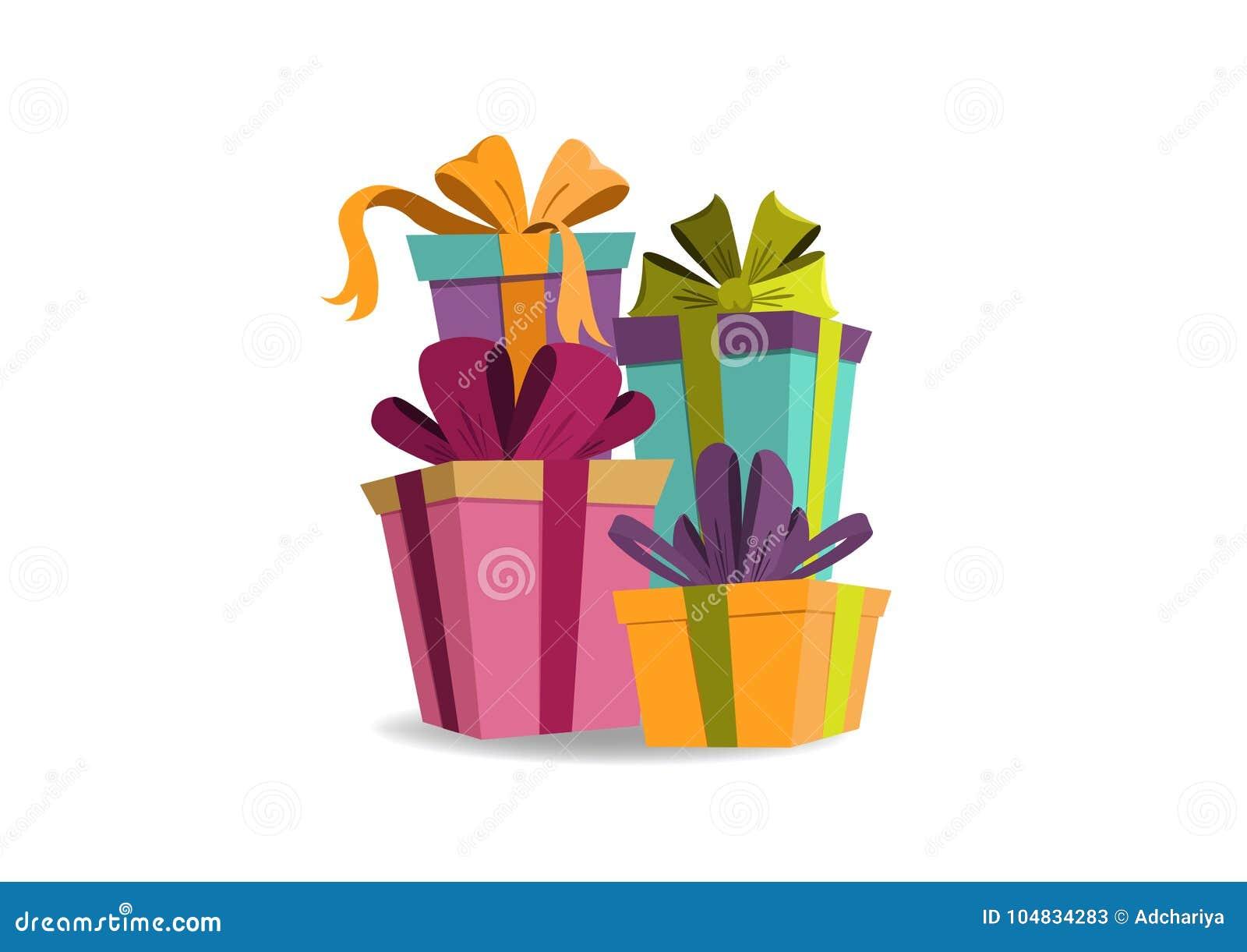 Compleanno della carta di celebrazione e contenitori di regalo allegri di natale