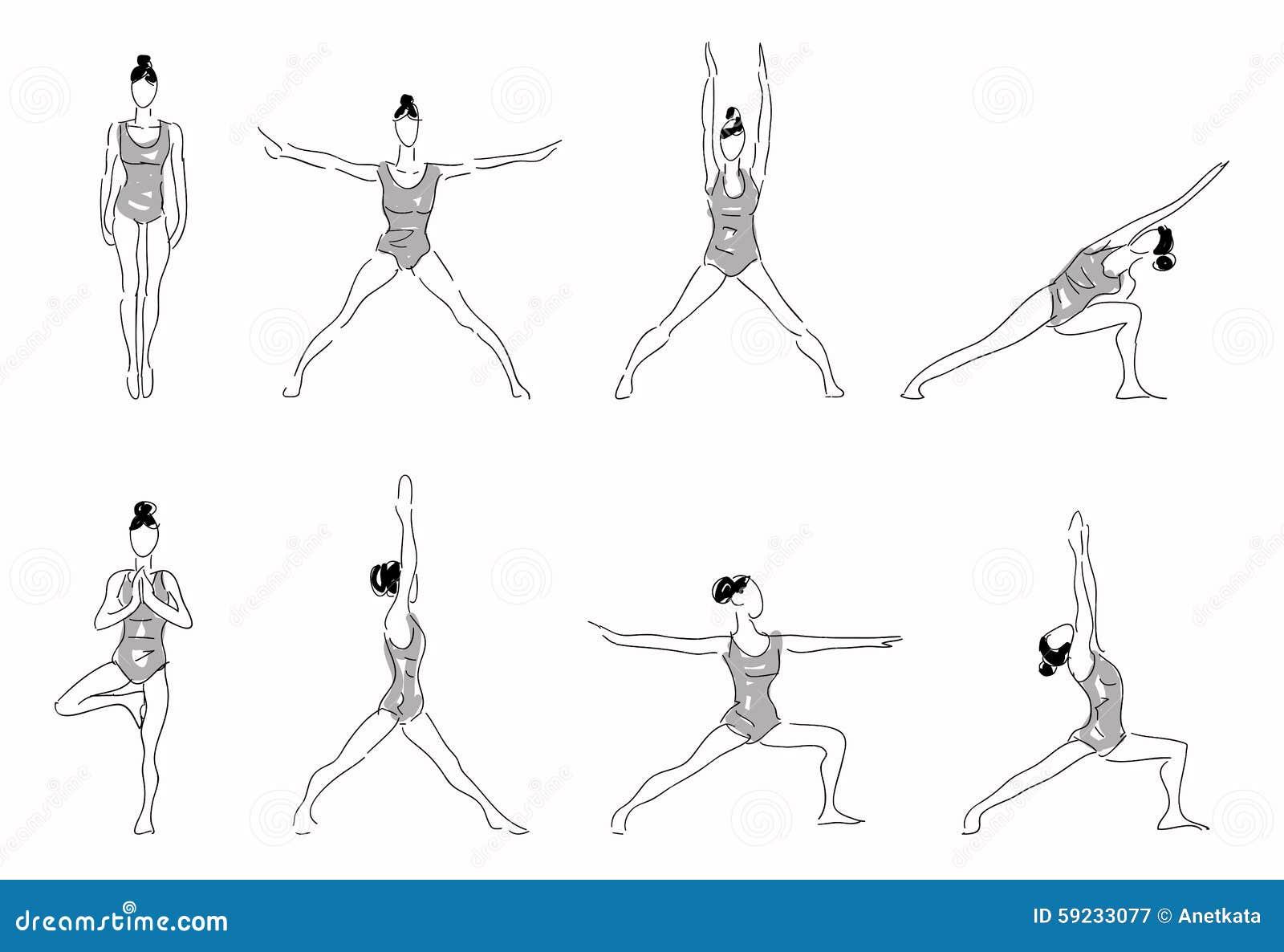 Download Complejo De La Yoga Que Estira Actitudes Stock de ilustración - Ilustración de flexible, sano: 59233077