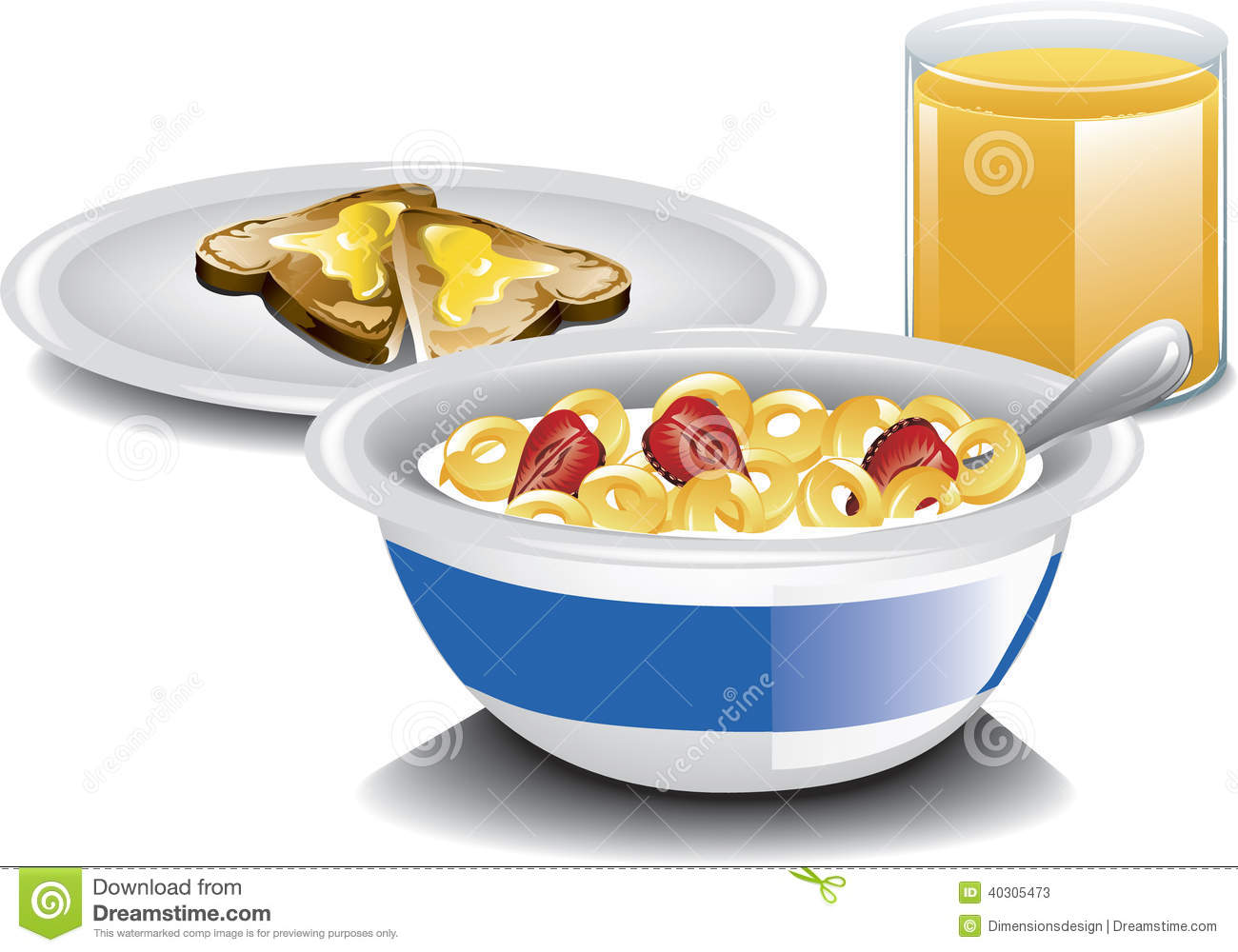 ... complete breakfast with cereal, toast and a glass of orange juice