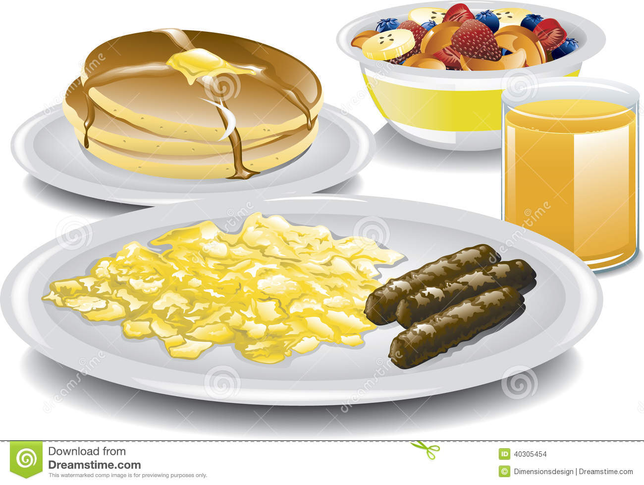 Illustration Of A Complete Breakfast With Scrambled Eggs Sausage Fruit Bowl Pancakes Syrup And Glass Orange Juice