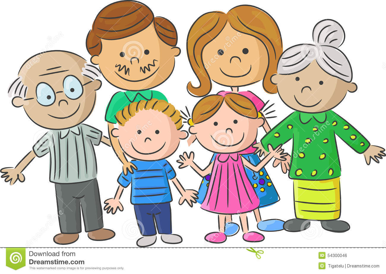 complete cartoon family care parents with children stock vector rh dreamstime com cartoon family pictures of 6 cartoon family pictures mom pregnant