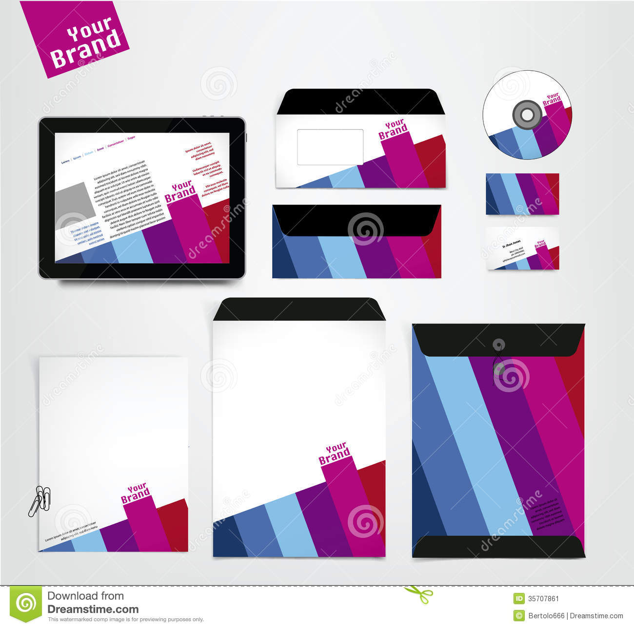 Complete Corporate identity business set. Vector illustration. Modern ...