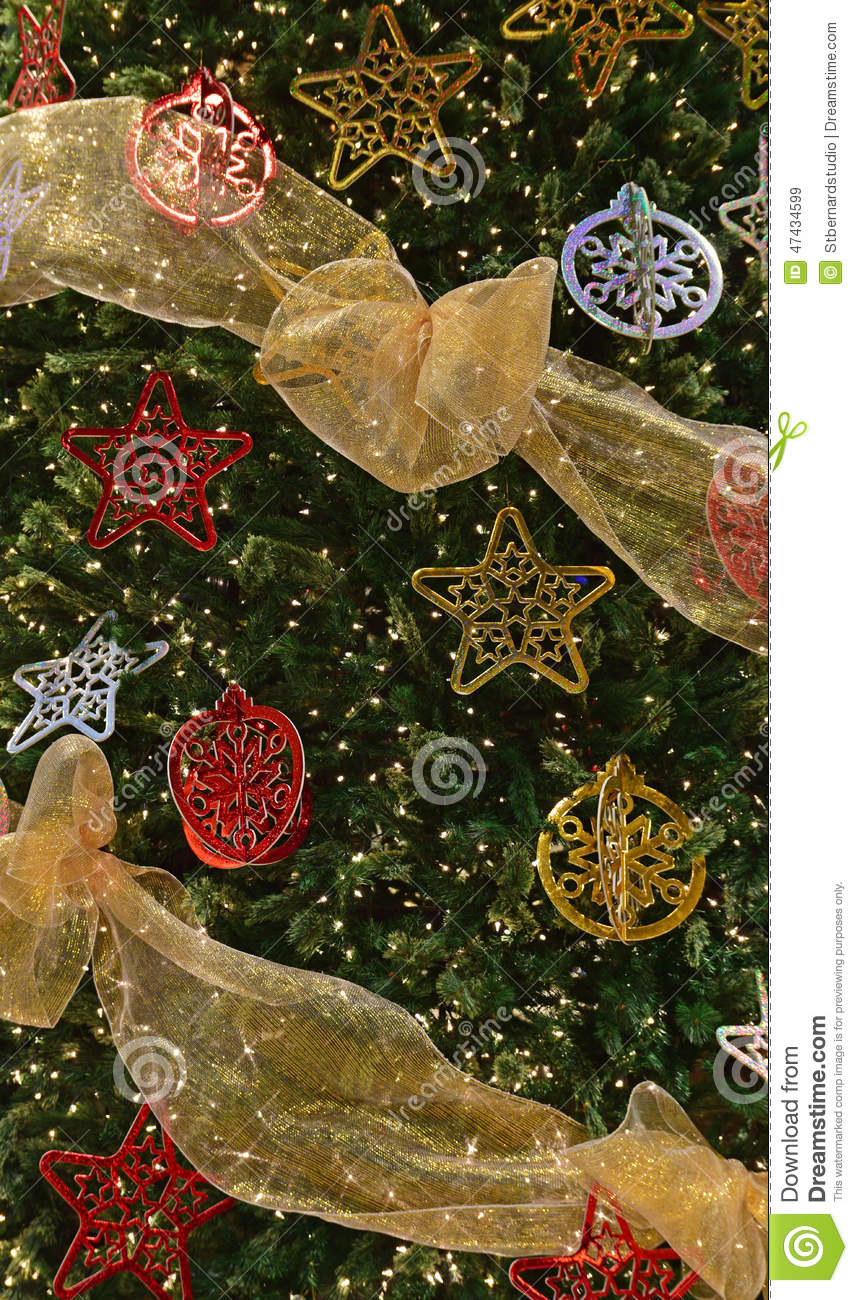 Complete Decoration On Large Christmas Tree Stock Photo