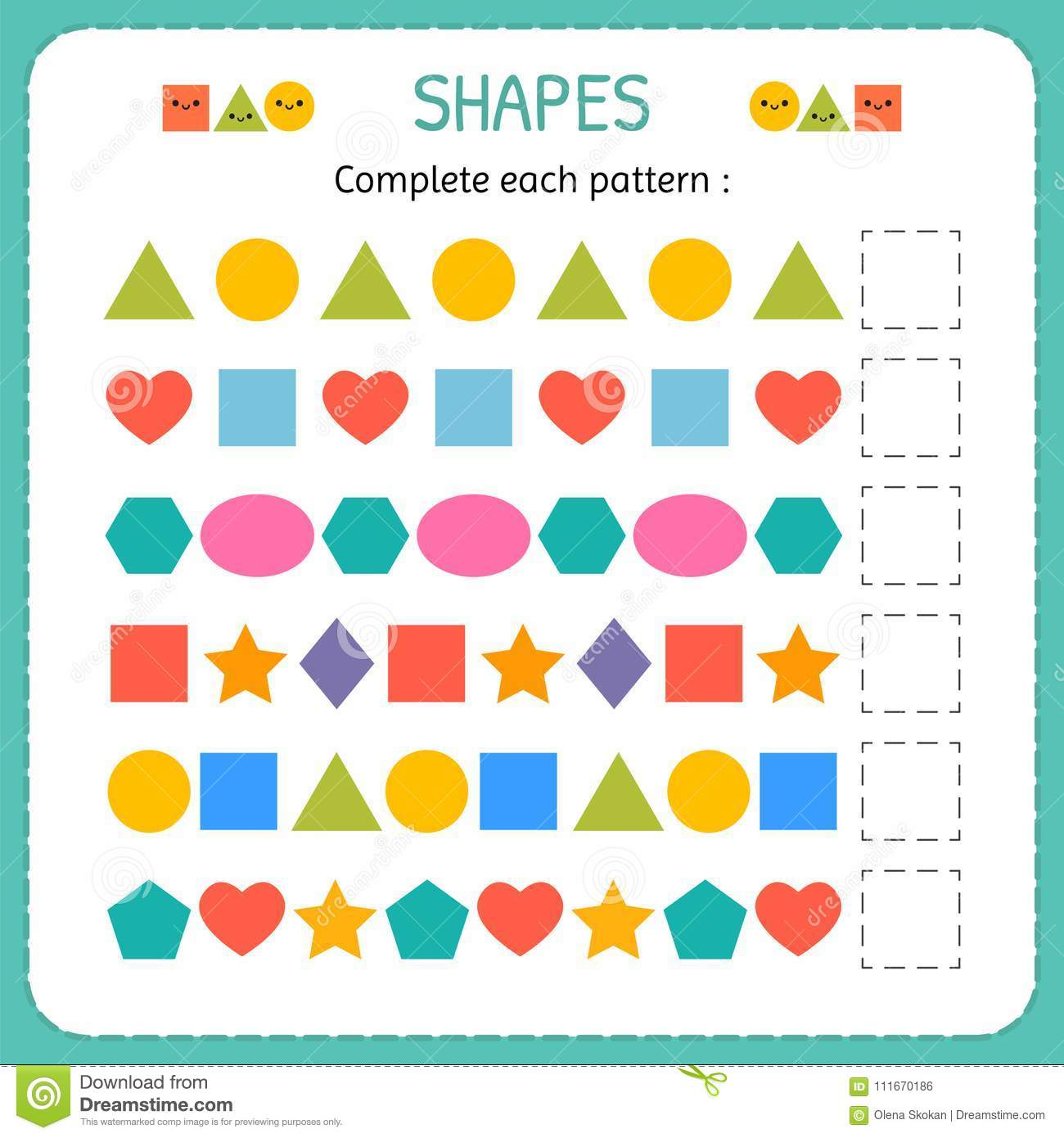 Complete Each Pattern Learn Shapes And Geometric Figures Preschool  Learn Shapes And Geometric Figures Preschool Or Kindergarten Worksheet