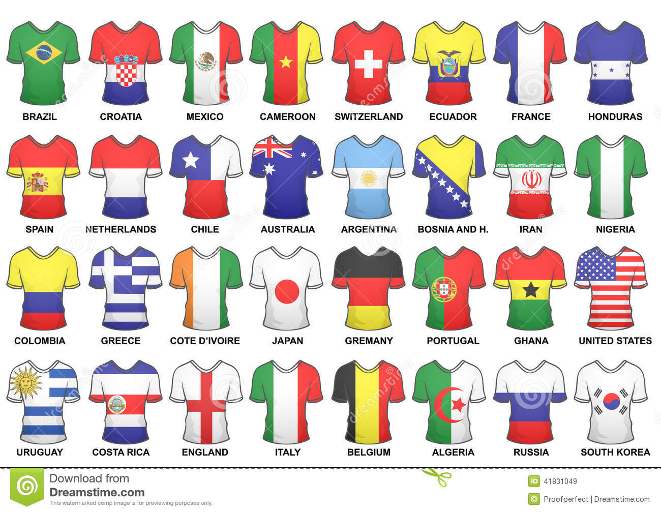 Complete 2014 Fifa World Cup Shirts Editorial Stock Image
