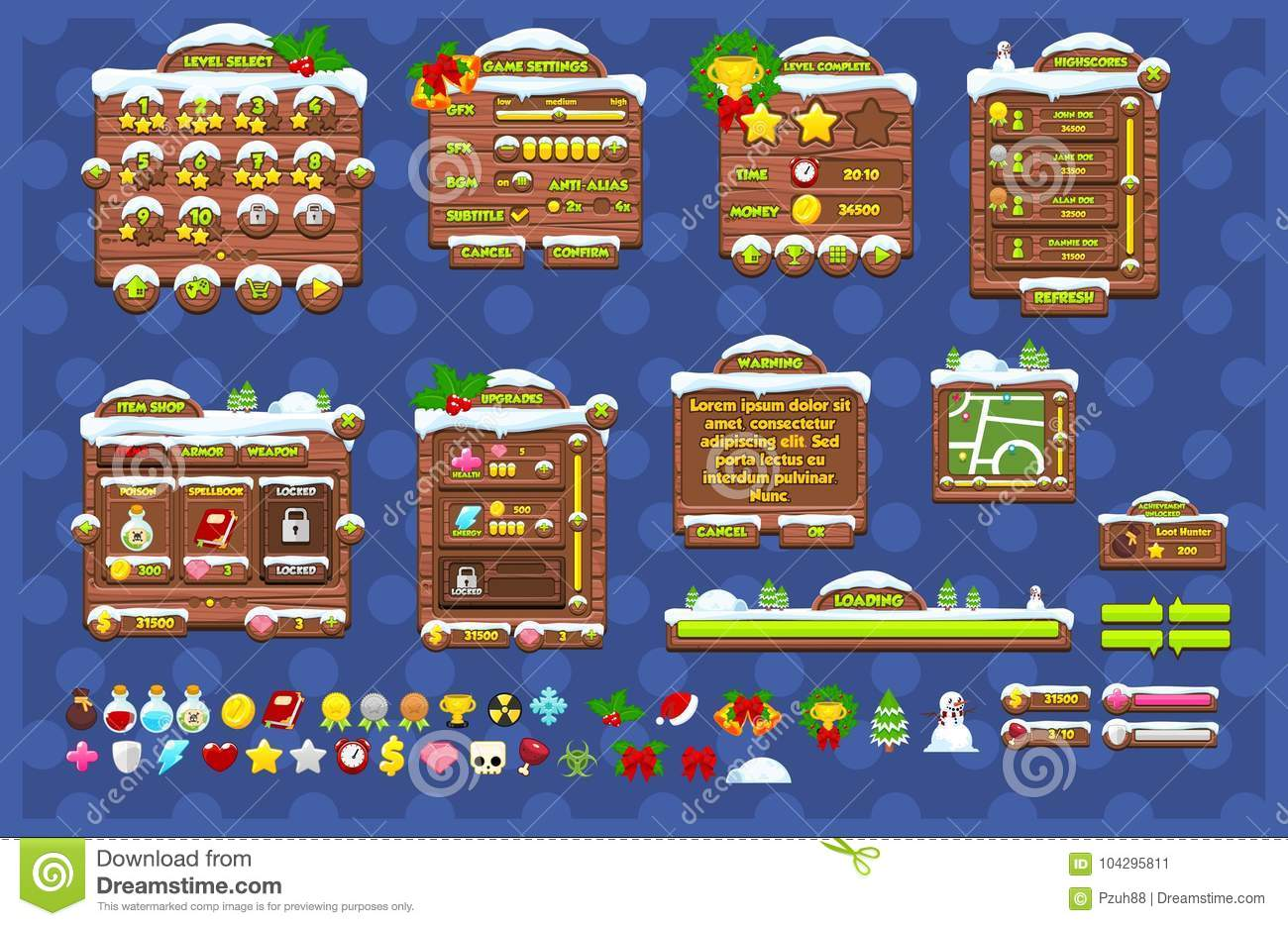 Complete Christmas Game GUI Pack Stock Vector - Illustration