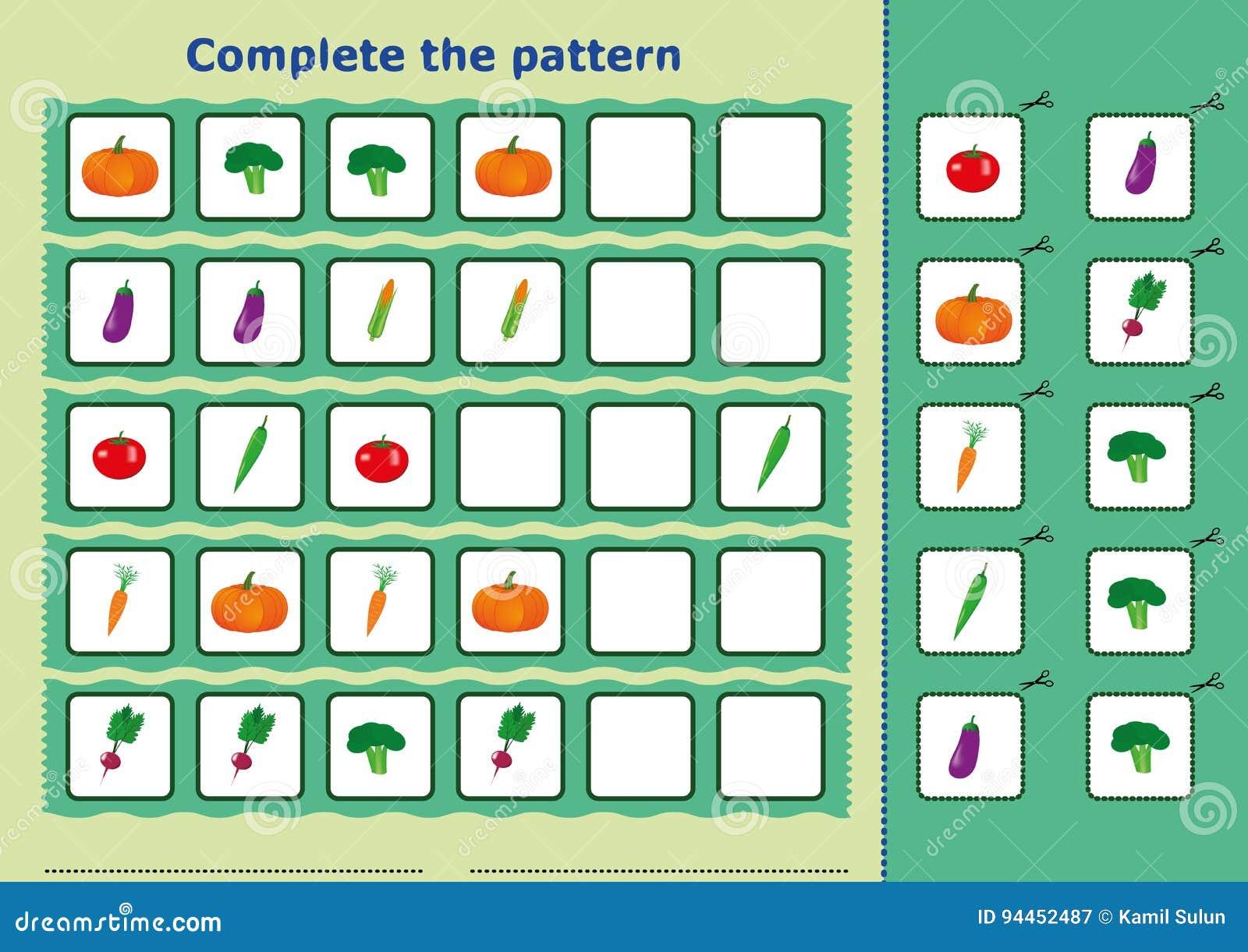 Complete The Pattern, Worksheet For Kids Stock Illustration ...