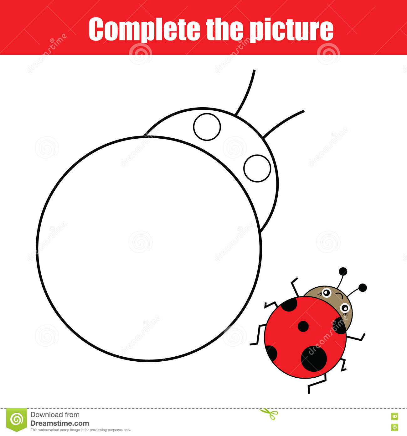 complete the picture children educational drawing game coloring