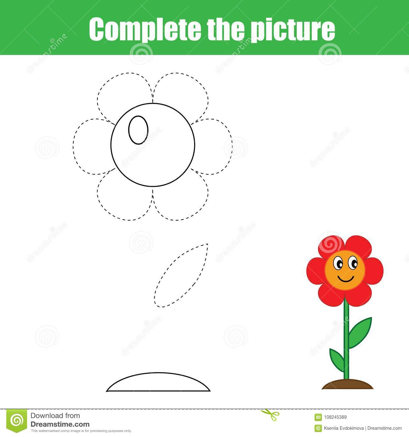 worksheet Flower Worksheet complete the picture children educational game coloring page kids activity with flower printable drawing worksheet