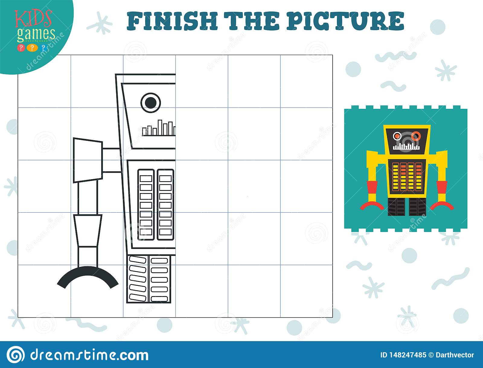 - Complete The Picture Vector Illustration. Finish And Coloring Game