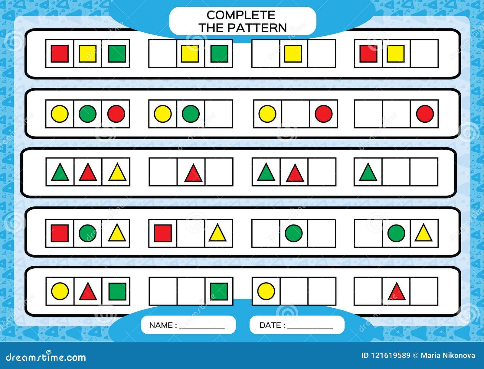 Complete Simple Repeating Patterns. Worksheet For Preschool Kids ...