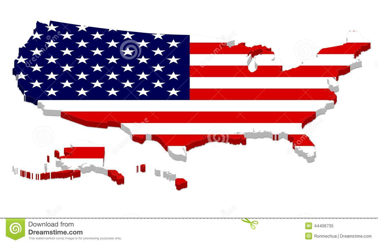 Complete USA Map With Flag Overlay Stock Illustration Image - Usa map with alaska and hawaii