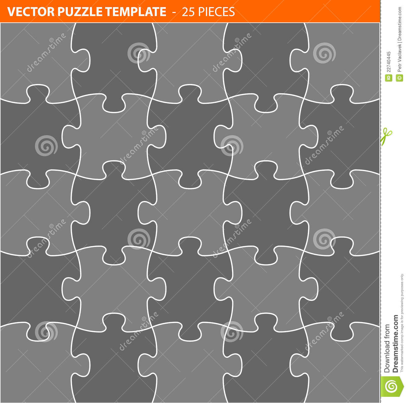 complete vector puzzle jigsaw template stock vector illustration