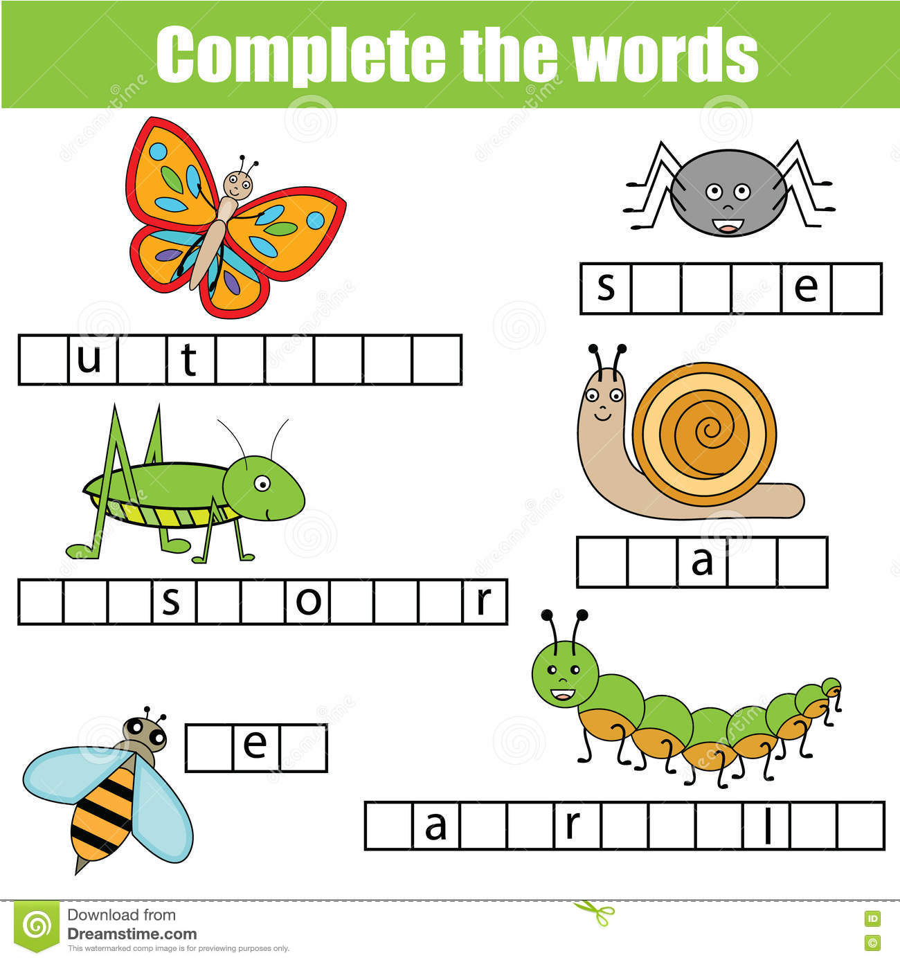 Complete The Words Children Educational Game. Insects ...