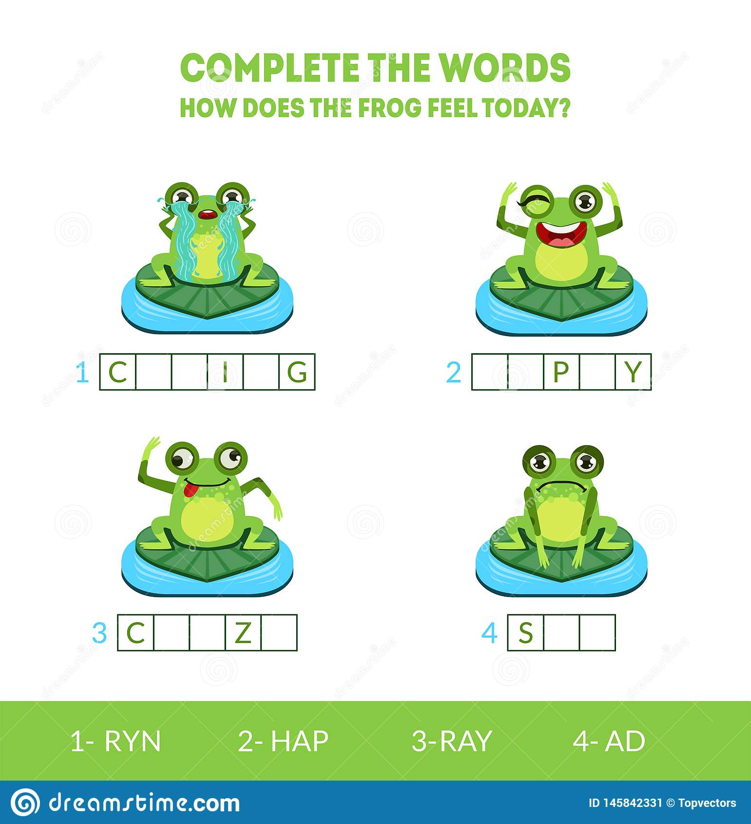 Complete the Words, How Does the Frog Feel Today, Crying, Happy, Crazy, Sad, Matching Game with Cute Amphibian Animal