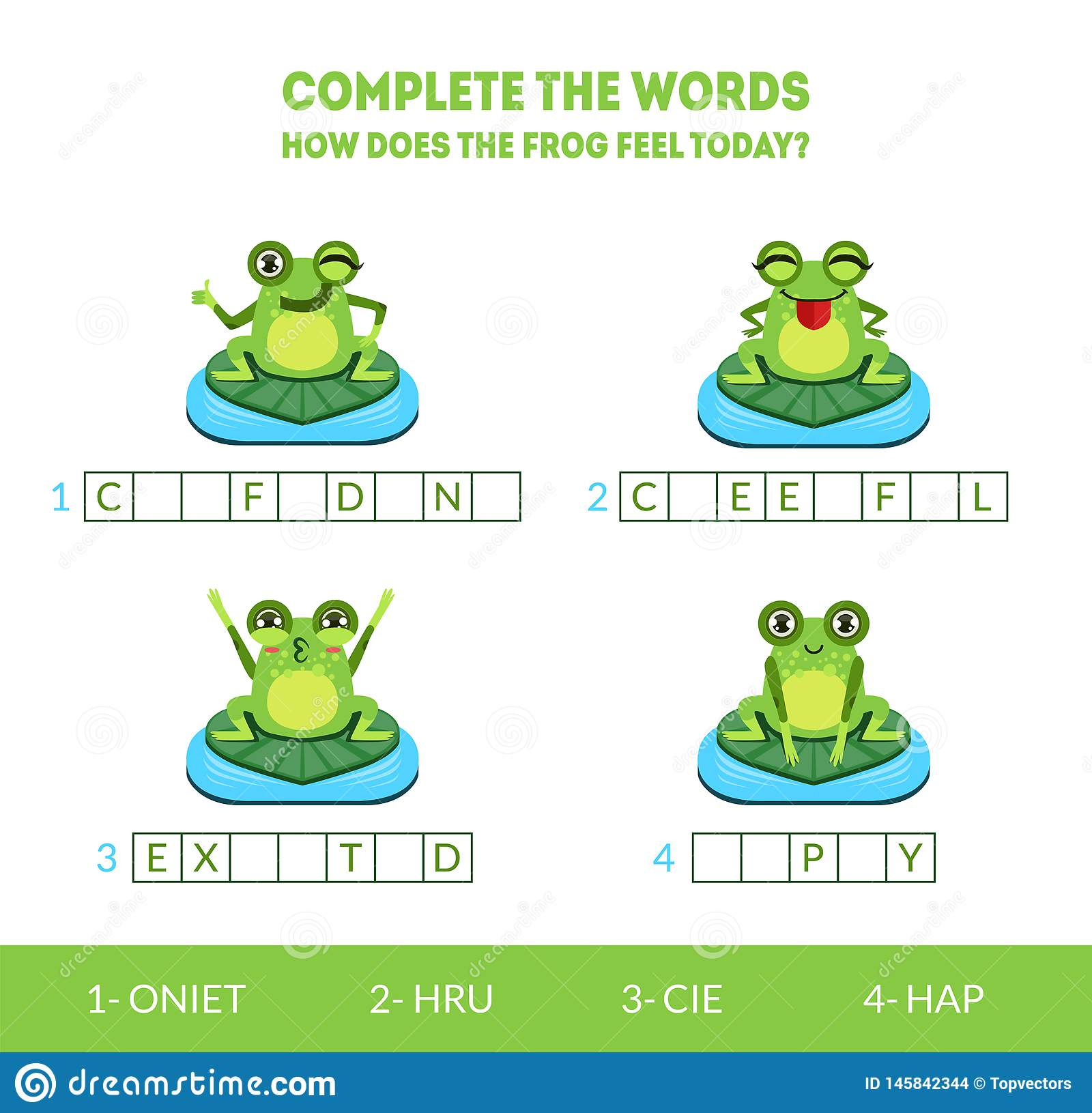 Complete the Words, How Does the Frog Feel Today, Matching Game with Cute Amphibian Animal Character, Educational Game