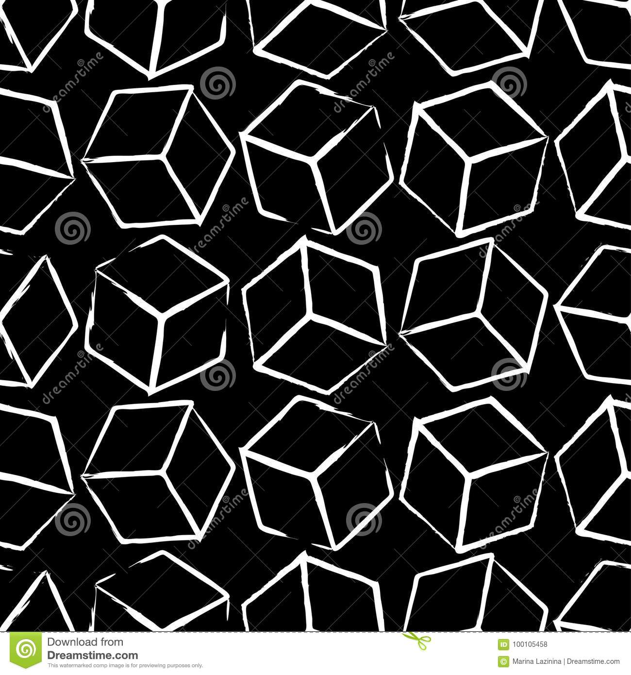 Completely seamless abstract cube pattern black and white